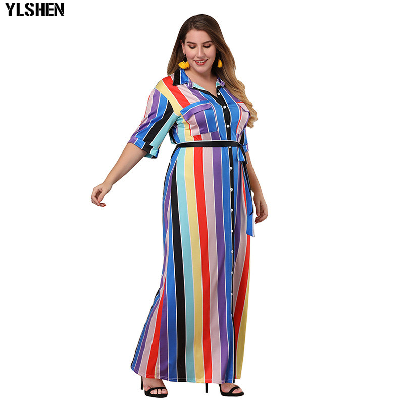 Plus Size Long African Dresses For Women Dashiki Fashion Stripe Africa Shirt Dress Skirt Lacing Robe Boubou African Clothing