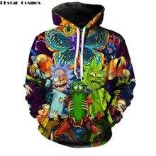 PLstar Cosmos 2019 Fashion Brand 3d hoodies cartoon rick and morty print Women Men Hoody Streetwear