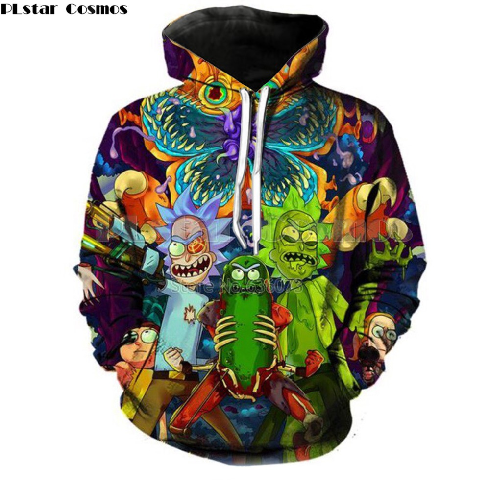 PLstar Cosmos 2018 Fashion Marke 3d hoodies cartoon rick und morty druck Frauen/Männer Hoody Streetwear casual hooded sweatshirts