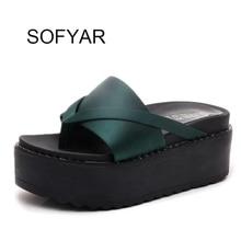 2017 women Flip flop female home slipper high heels t tied green solid wndges shoes high