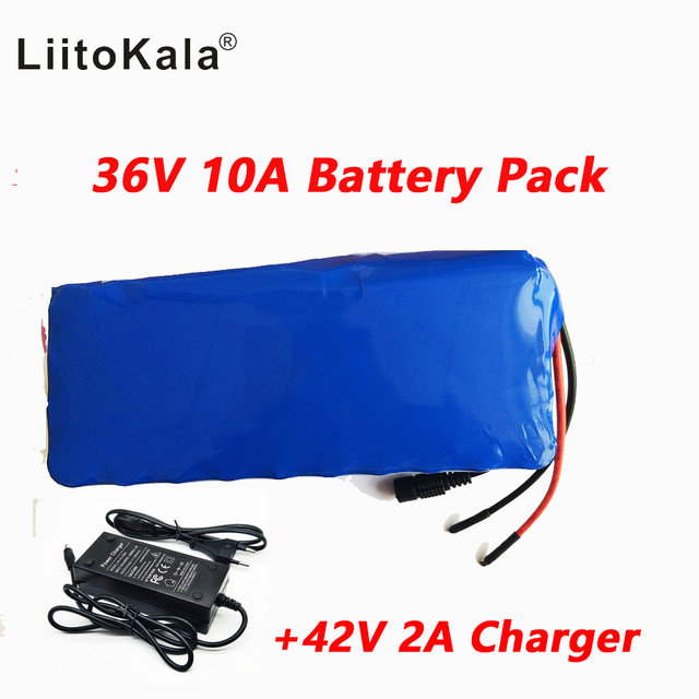Liitokala 36 v 10ah haute capacité au lithium batterie + comprend 42 v 2A chager