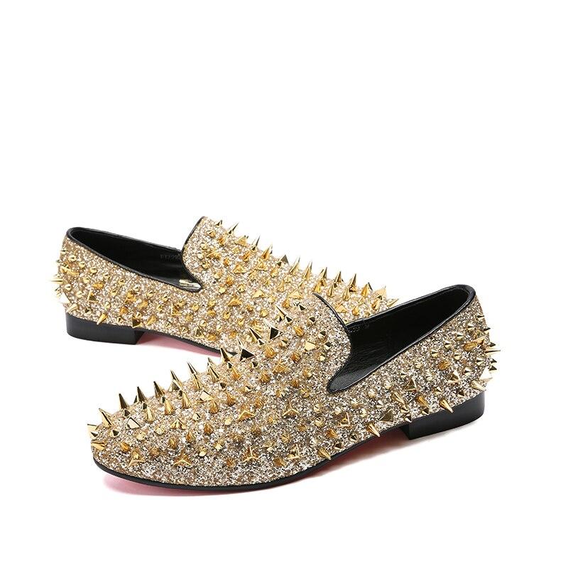 as Do Rebites Mocassins De Show 2018 Lantejoulas Casuais Ouro Cravado Vestido Luxo Show Bling Casamento Flats As Sobre Homens Deslizar Sapatos Mabaiwan PqIRwXzP
