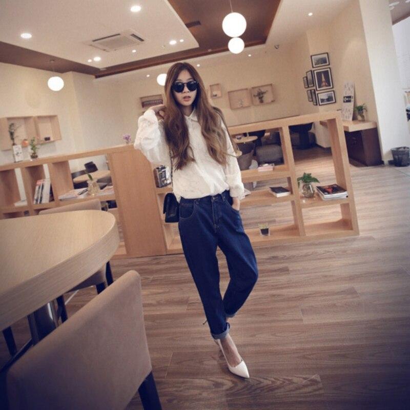 2017 Women  High Waist Washed Light Blue True Denim Pants Boyfriend Jean Femme For Women Jeans Y15