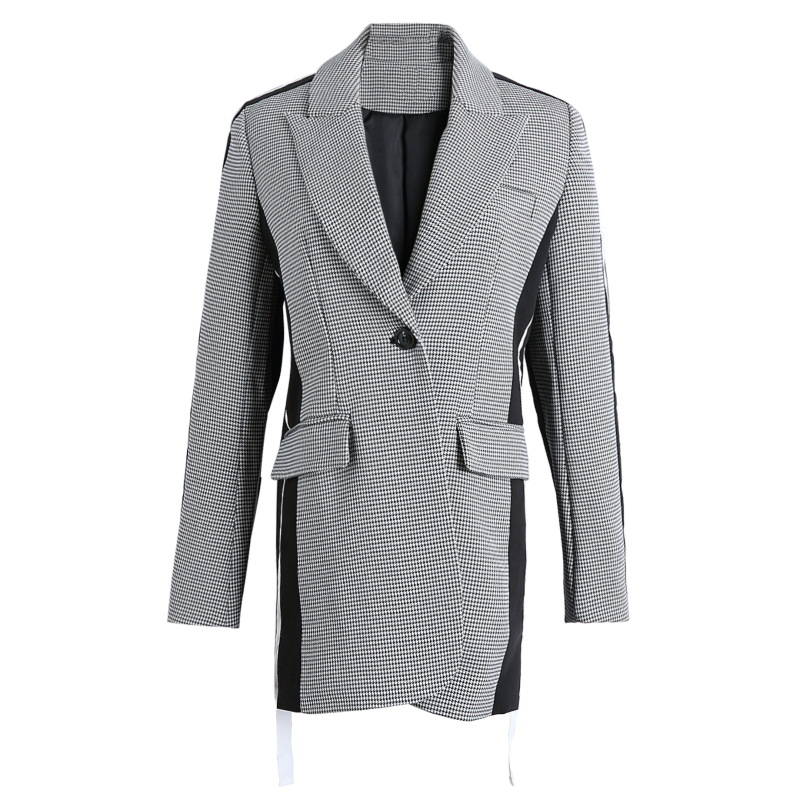 In Early Spring Of 2019 Poplar Purple Star Net Red With The Same Gray Loose Lattice Stitching Collision Color Suit Jacket Woman