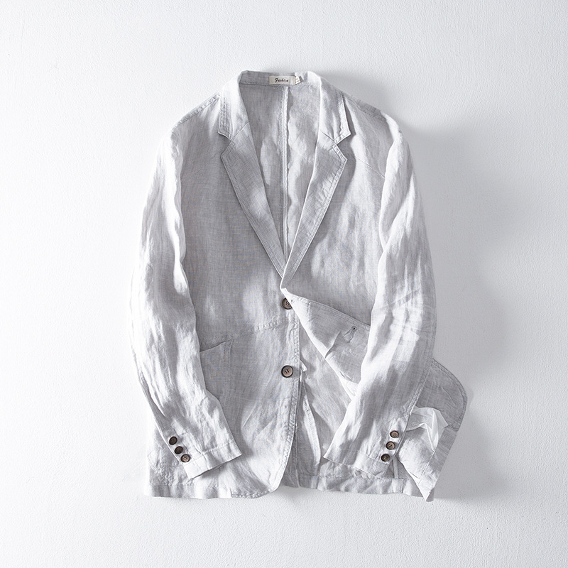 Men Spring Summer 100% Linen Blazer Japan Style Vintage Solid Slim Fit Linen Thin Blazers Casual Flax Suit Jackets Male FS-180