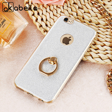 AKABEILA Phone Cover Case For Apple iPhone 6 6S 6G iphone6 iPhone6S 4.7 inch Case Finger Ring Glitter Silicone TPU Cover Bags