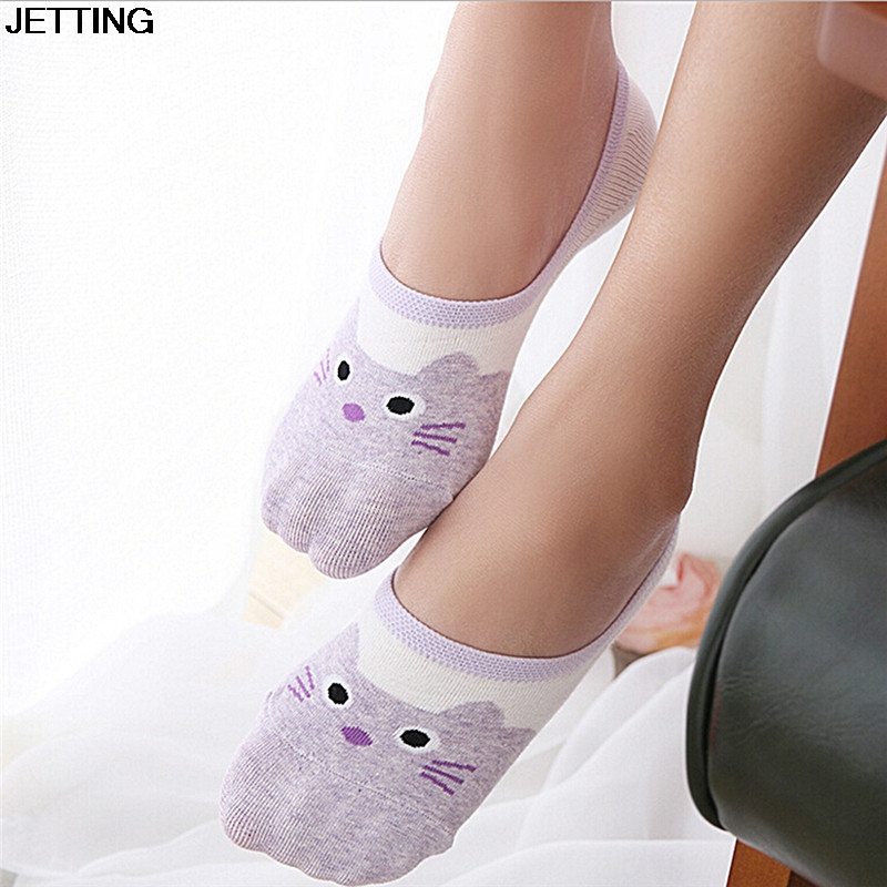 cat socks 2017 NEW cute harajuku print women summer korean animal funny cute low cut ankle sock happy candy color sock sokken
