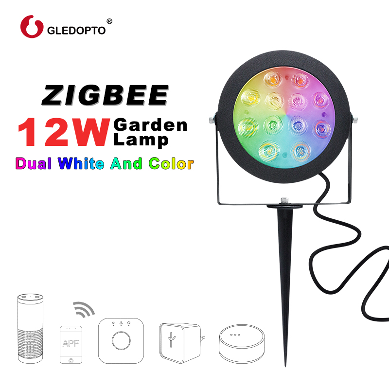Image 2 - GLEDOPTO ZIGBEE light link LED garden lamp outdoor light 12W RGB CCT warm white AC110 240V work with Amazon alexa echo ZIGBEE3.0-in LED Lawn Lamps from Lights & Lighting