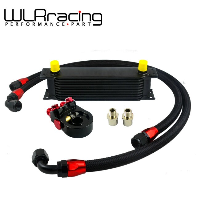 WLR- Universal 10 ROWS OIL COOLER ENGINE + AN10 oil Sandwich Plate Adapte with Thermostat + 2PCS NYLON BRAIDED HOSE LINE BLACK