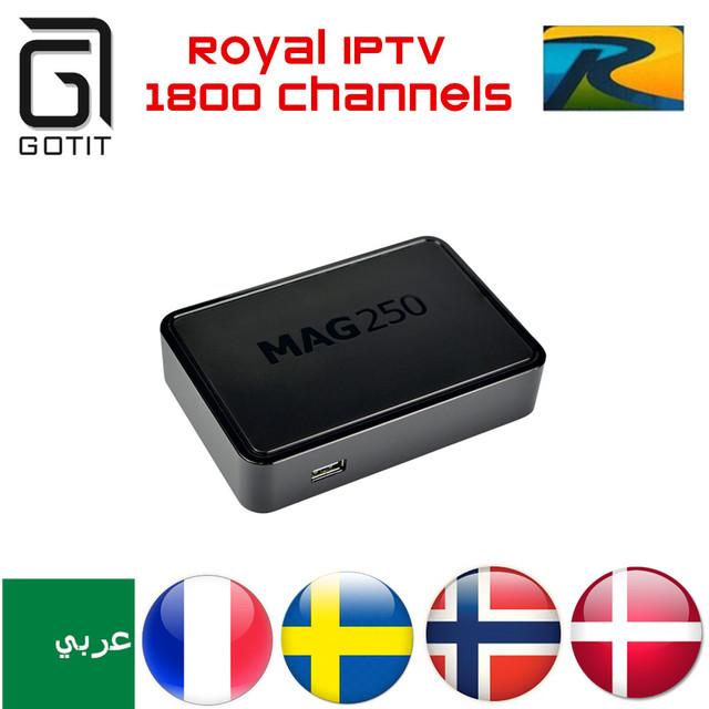 GOTiT MAG 250 Real África IPTV Arábica IPTV 1750 + Europa França Escandinavo Turquia Persa Albanês Curdo Tv Por Assinatura & VOD Caixa de TV