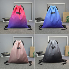 Size 40 * 33 waterproof nylon outdoor running bag drawstring fabric bags with multicolor easy carry for youth camping