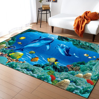 3D Ocean World Dolphin Fish Area Rug Children Decoration Rugs Memory Foam Non Slip Mats Soft Flannel Carpet Living Room R616