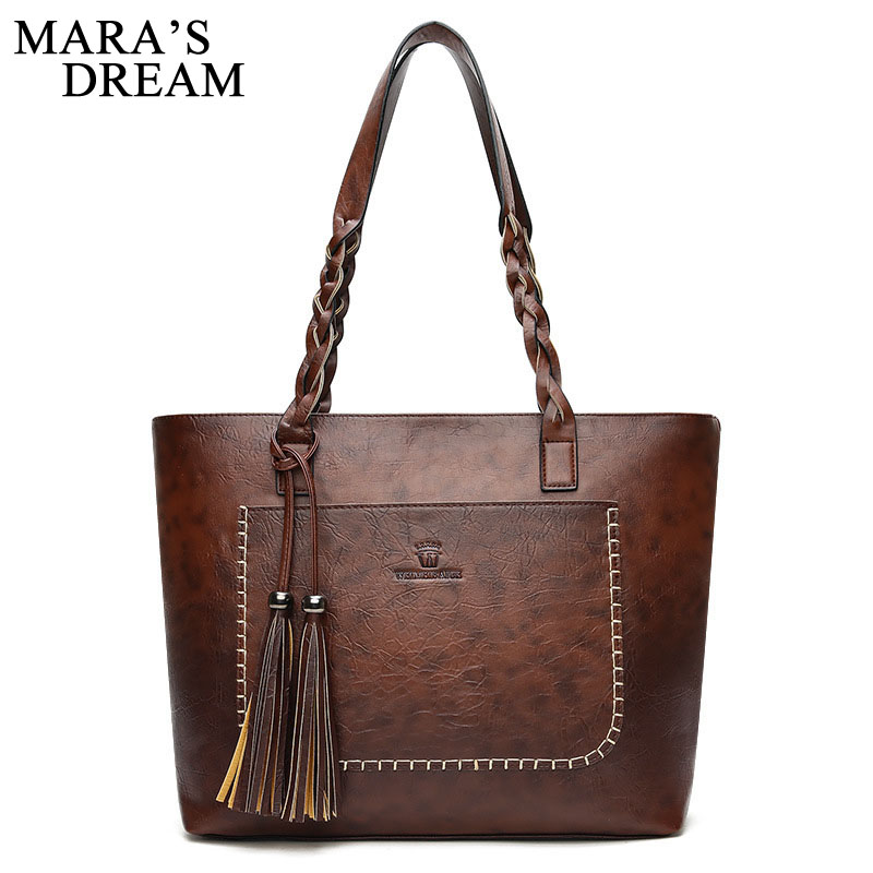 Mara's Dream 2018 Fashion Women Handbag PU Leather Shoulder Bag Large Capacity Tote Bag Ladies Big Casual Bags Tassel Feminina women fashion tassel pu leather handbag shoulder bag small tote ladies purse comfystyle