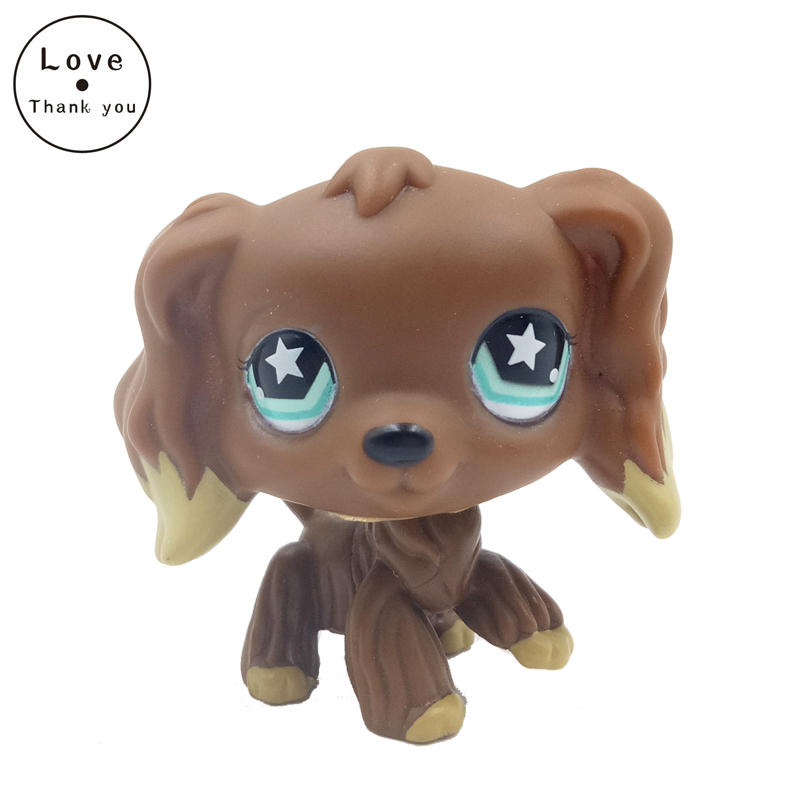 rare pet shop lps toys animal Dog Chocolate Brown cocker spaniel with star eyes cute gift figure for Child free shipping usb powered funny cute stress relieving humping spot dog toy brown chocolate white