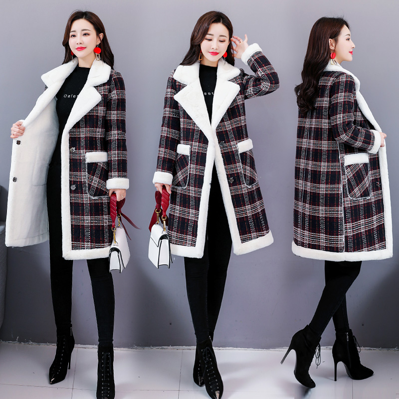 Fashionable Cotton-padded Cardigan For Women Long Wind Coat Plaid Spliced Chic Thickening Windbreakers   Trench   Female Raincoat