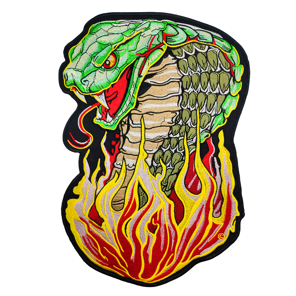 Snake patch shape custom cool clothing application biker jacket vest sticker clothes iron on embroidered iron patch for clothing in patches from home