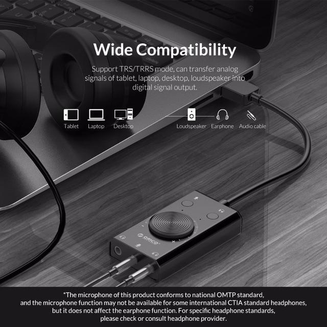 ORICO przenośny USB zewnętrzna karta dźwiękowa mikrofon słuchawki dwa w jednym z 3 Port wyjściowy regulacja głośności dla systemu Windows Mac Linux