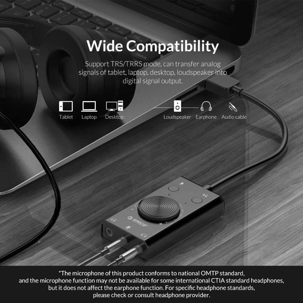 オリコポータブル USB 外部サウンドカードマイクイヤホンツーインワン 3 ポートと出力ボリューム調整可能なをウィンドウズ/Mac/Linux
