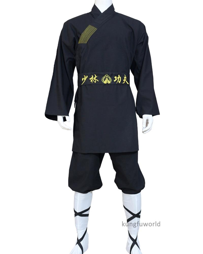 Black Shaolin Monk Robe Buddhist Kung Fu Suit Tai Chi Uniform Wing Chun Martial Arts Karate Gis
