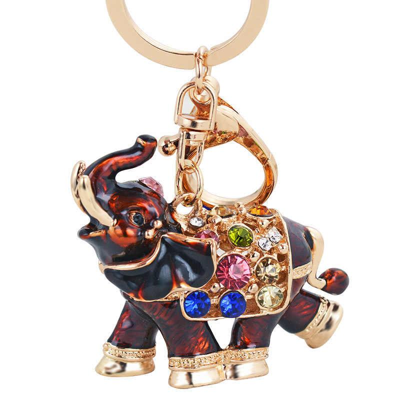 Tailandesa Elefante Gotejamento Chaveiro Strass Cristal Chaveiro Bolsa Chave Titular Meninas Pingentes Pingente Charme Bag Llavero Chave Do Carro