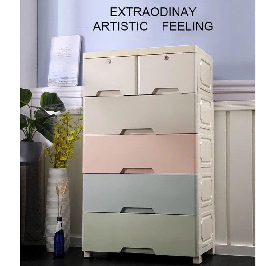 Épaissir grand tiroir armoire de rangement pour bébé simple en plastique cinq couches enfants armoire cinq tiroirs