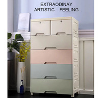 Сгущает большой шкаф для хранения ящиков для ребенка Простой пластиковый пятислойный детский гардероб с пятью ящиками
