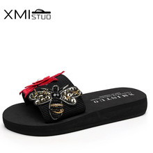 XMISTUO Women Slippers Female Summer Beach Ladies Sandals sandalias mujer zapatos 3CM Low-heeled Slippers 2 Color 7208 xmistuo asual slopes with cool slippers ladiesnoble atmosphere on the grade high heeled shiny diamond slippers simple sandals