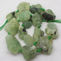 20 25mm Natural Green Garnet Prehnite Freeform Loose Beads 15