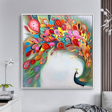 100% Hand Painted Abstract Color Peacock Painting On Canvas Wall Art Wall Adornment Pictures Painting For Live Room Home Decor(China)