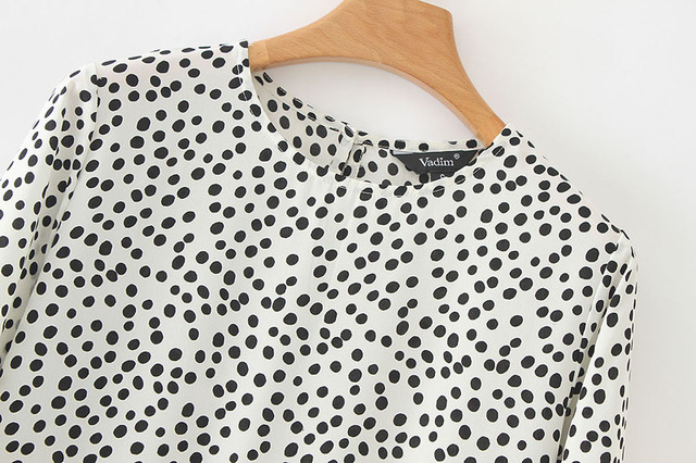 Vadim women dots print maxi dress pleated three quarter sleeve female casual straight dresses chic ankle length vestidos QB260 5