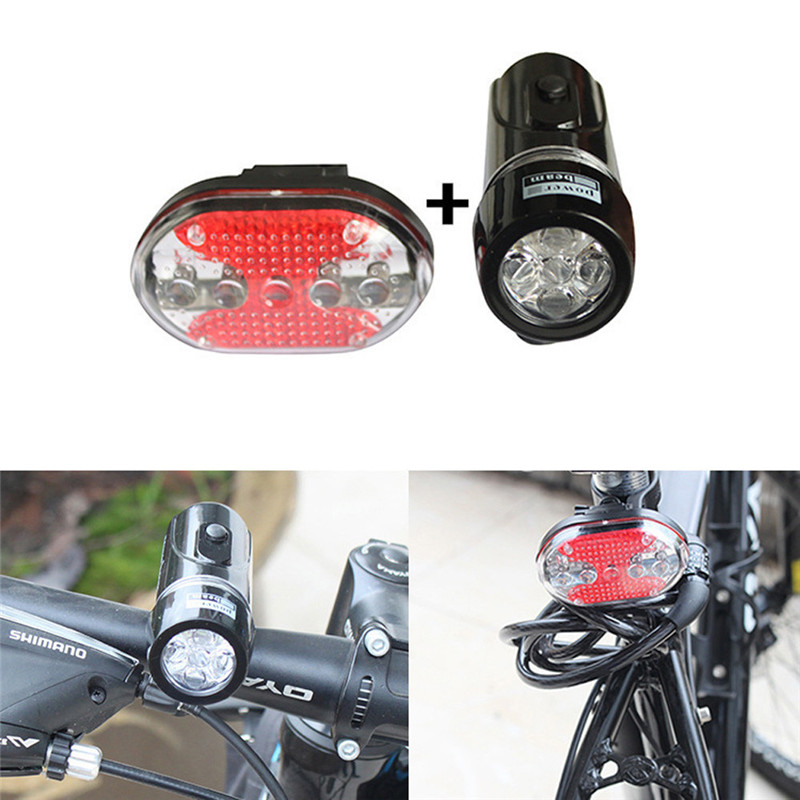 2018 Bike Bicycle Waterproof White 5 LED Head Lamp Light + Red Rear Flashlight Safety & Survival Z1011