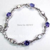 SHUNXUNZE O preço da pulseira Zirconia Cúbico Roxo e branco opal Vintage Banhado A Prata B4048 Explosão modelos Nobre Generoso