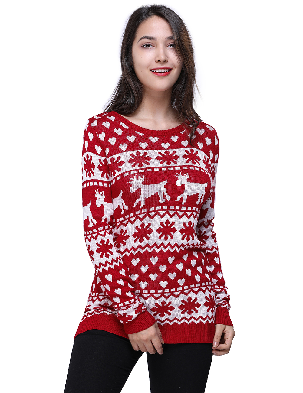 Women Knitted Christmas Red Sweater With Deer Knitted Pullover Sweater Soft Pull Femme Autumn Warm Knitting Sweater