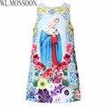 Niñas Princesa Dress Robe Fillette Disfraces Infantiles para Niñas Ropa 2017 Marca Flor Patrón Rapunzel Niños Vestidos para Niñas