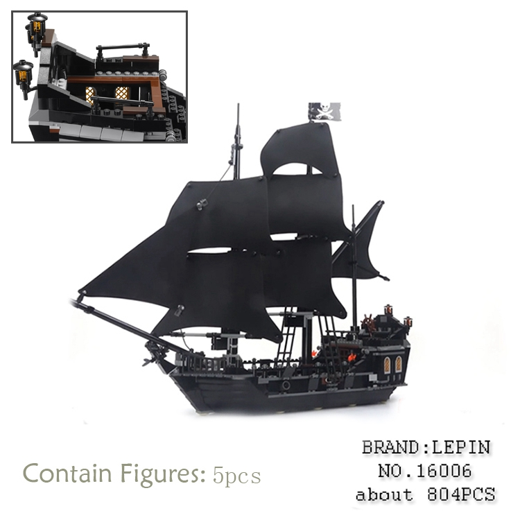 LEPIN 16006 804pcs Pirate ship Pirates of the Caribbean The Black Pearl Building Blocks toys for children Gifts 4184 brinquedos lepin 22001 pirate ship imperial warships model building block briks toys gift 1717pcs compatible legoed 10210