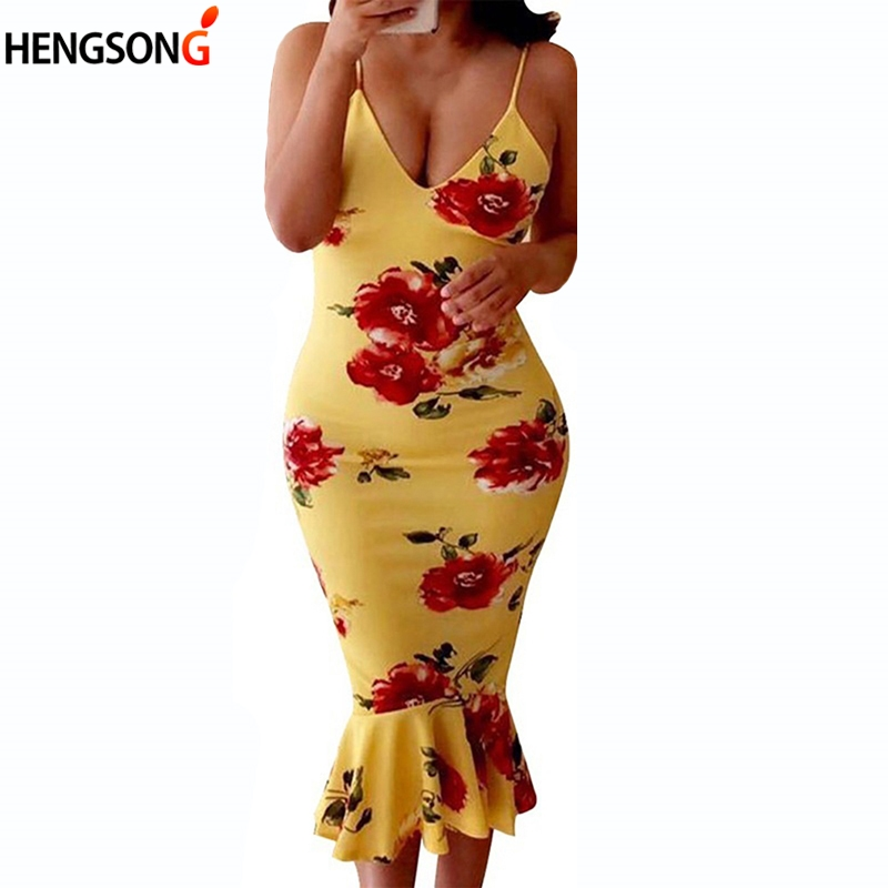 2018 Summer Women Sleeveless Floral Flowers Print Dress Bodycon Slim Sheath Sexy Mermaid Dress Lady Club Party Dress Vestidos