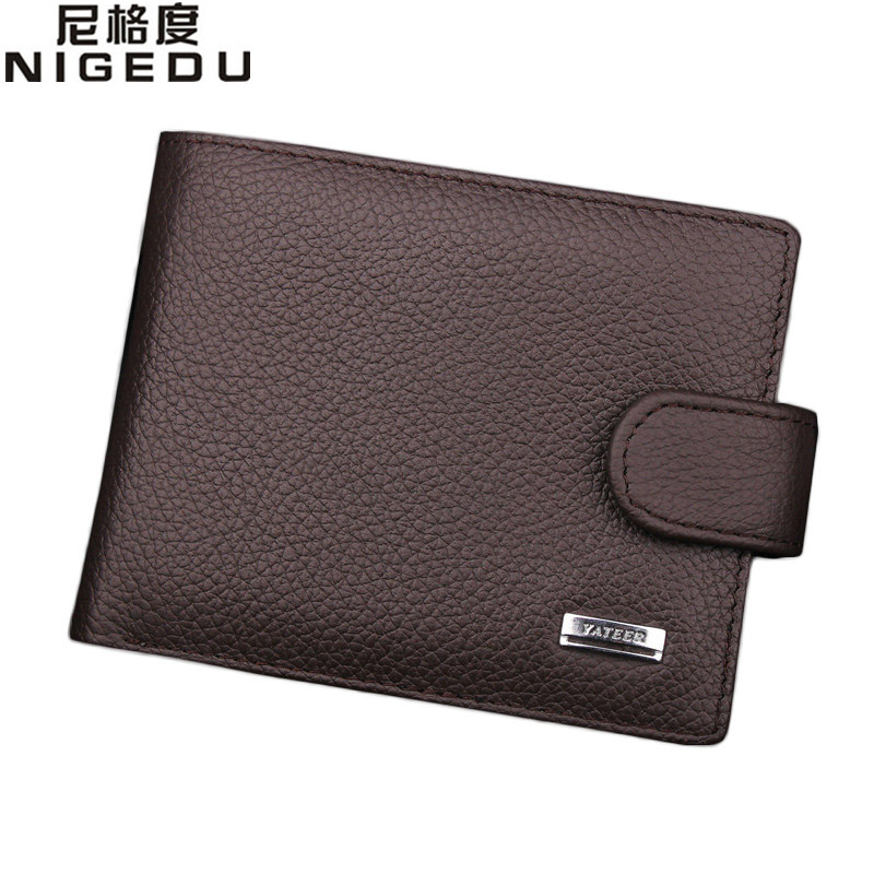 100% Genuine Leather men Wallet High quality fashion hasp purse purses coin pouch coin wallets short card holder Free Shipping