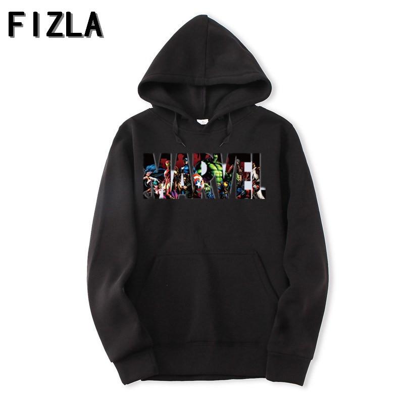 FIZLA новый бренд Marvel толстовки мужские высокого качества с длинным рукавом Повседневные мужские толстовки marvel принт худи спортивные костюмы мужские