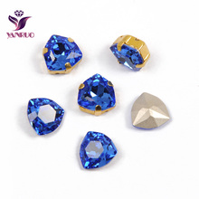 YANRUO 4706 Trilliant Sapphire Crystal Fancy Rhinestones Glass Sew on Stones Garment Decoration Crafts All for Handiwork