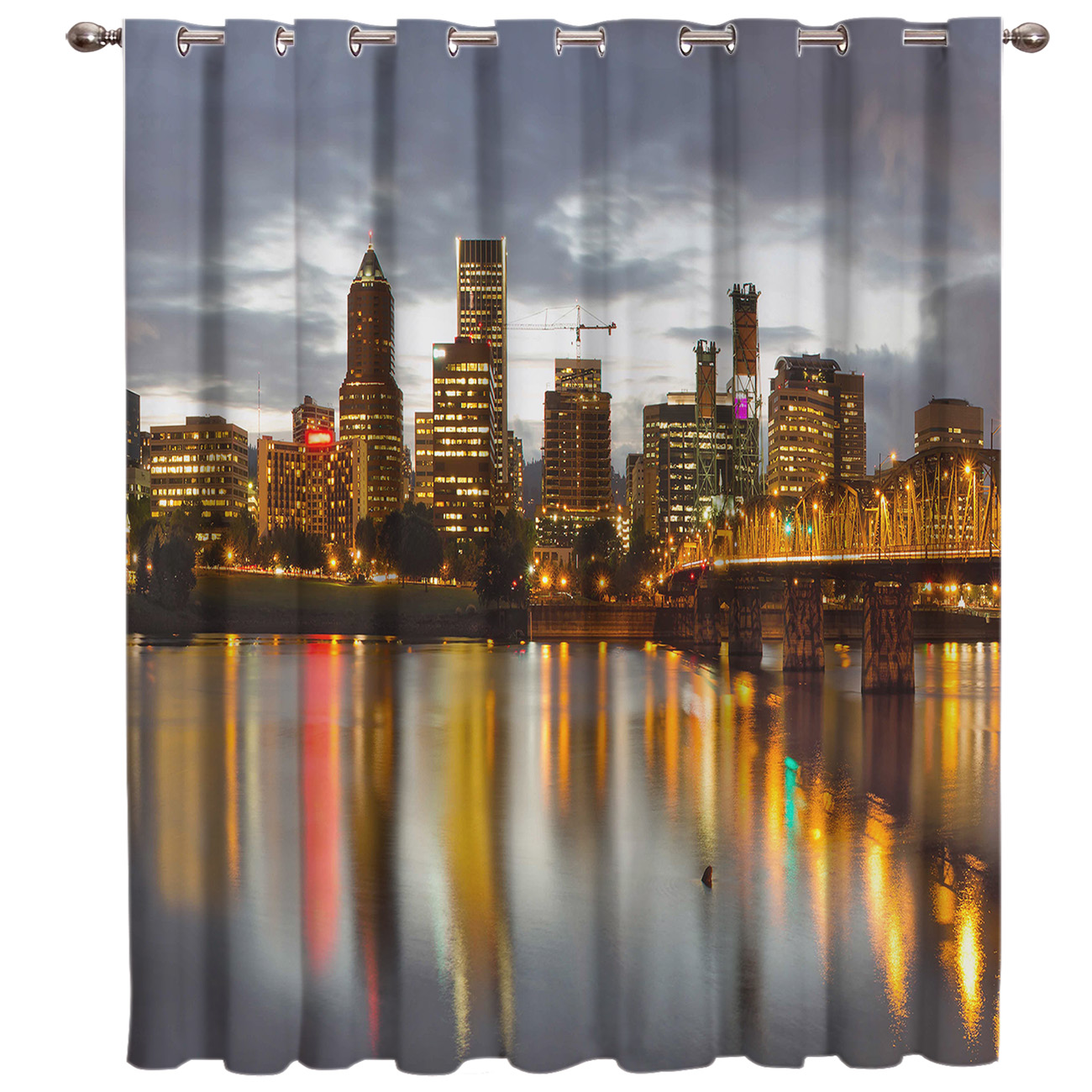 Night City New York Window Treatments Curtains Valance Window Curtains Dark Curtain Rod Outdoor Kitchen Indoor Fabric Swag Kids