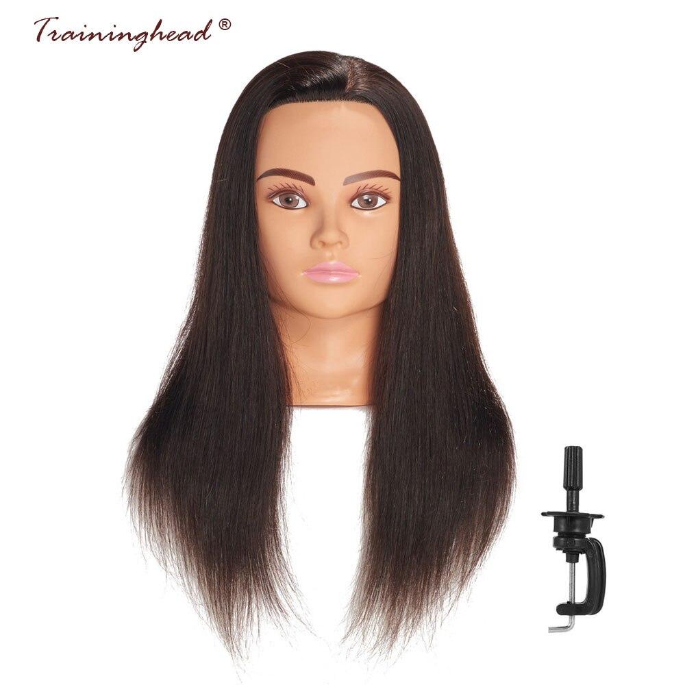Traininghead 24-26 100% de Cheveux Humains Tête de Mannequin Noir Coiffure Cosmétologie Coiffures Pour Tressage Pratique Formation Poupée