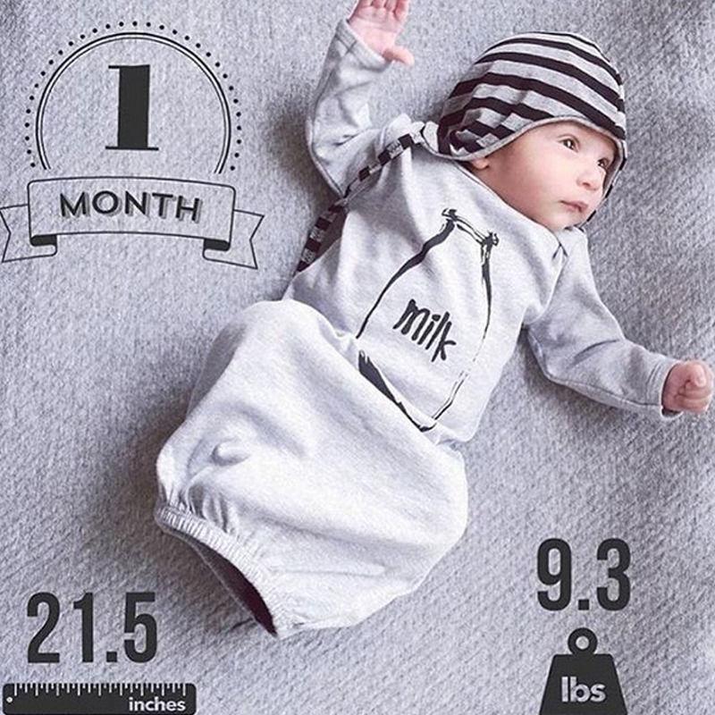2016 Herbst Winter Milch Baumwolle Neugeborenen Jungen Mädchen Langarm Kleidung Schlafsack Schlafsack Outfit