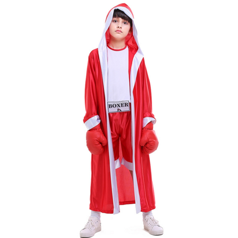 FINDPITAYA Halloween costume two-color children's sportswear red and blue boxers boxing competition photography cosplay Costume