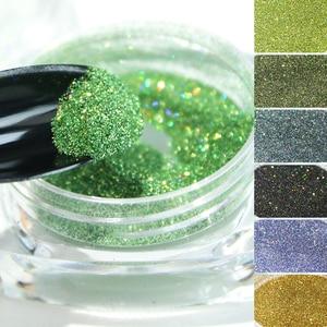 Image 5 - Holographic Laser Glitter Powder Nail Pigment Powder Gradient Mirror Effect Nail Art Chrome Sequins Shining Polish Dust CH1028
