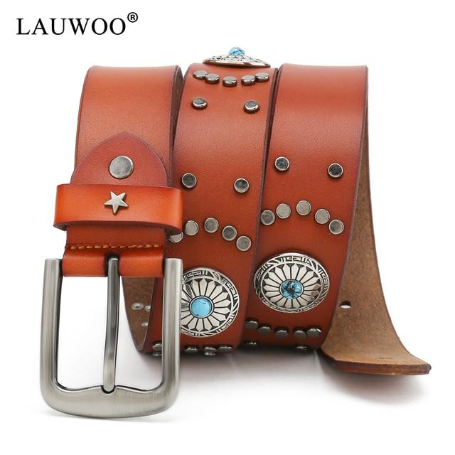 2213fe4692de US $14.17 18% OFF|LAUWOO new designer Men Steampunk belt Retro Rivet  Leather Jeans Rock Belt Genuine Leather Belt Stud Cowboy Strap Gothic  belt-in ...