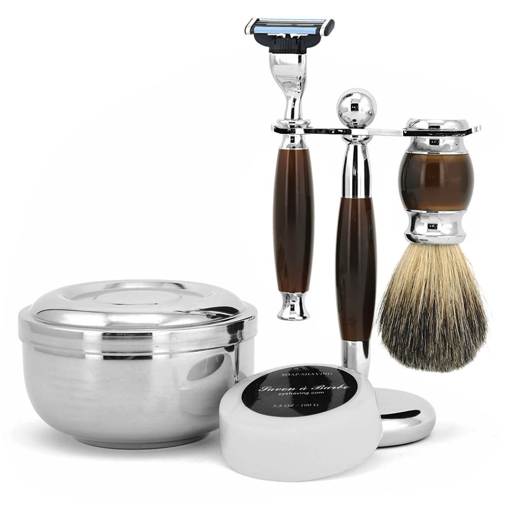 ZY Men Best Shaving Set Kit Safety Blade Razor+ Pure Badger Shaving Beard Brush+ Razor Holder Stand + Bowl + Shaving Face Soap  verawood wood pure badger shaving brush and de safety razor set