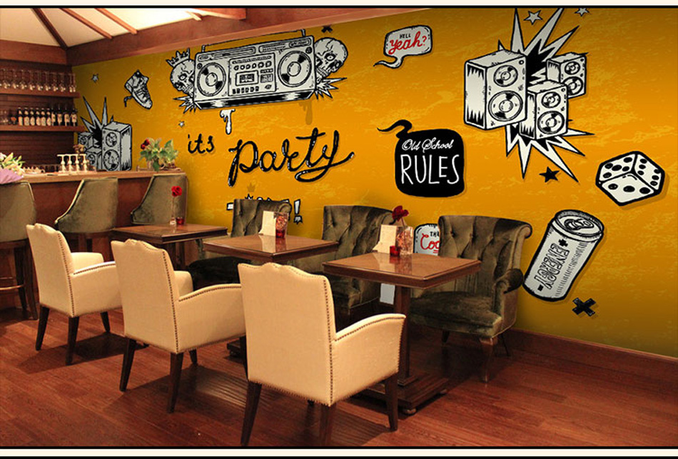 ShineHome-Large Custom Wahable Wallpaper Rock n Roll Music 3d Cafe Bar Modern Living Room Photo Wall Murals Home Contact Paper shinehome modern custom elephant skyline photo wallpaper 3d stereoscopic decorative wall paper murals boys children kids room