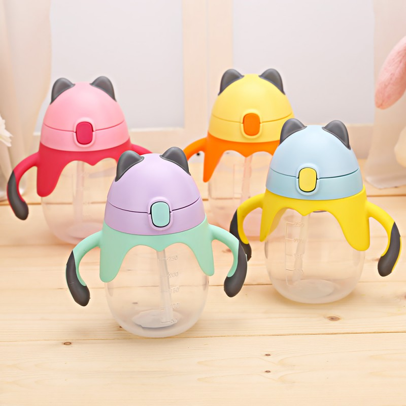 250ml Cute Baby Feeding Bottle Learn Feeding Drinking Water Cup Straw Handle Bottle Training Cup Baby Food Cup
