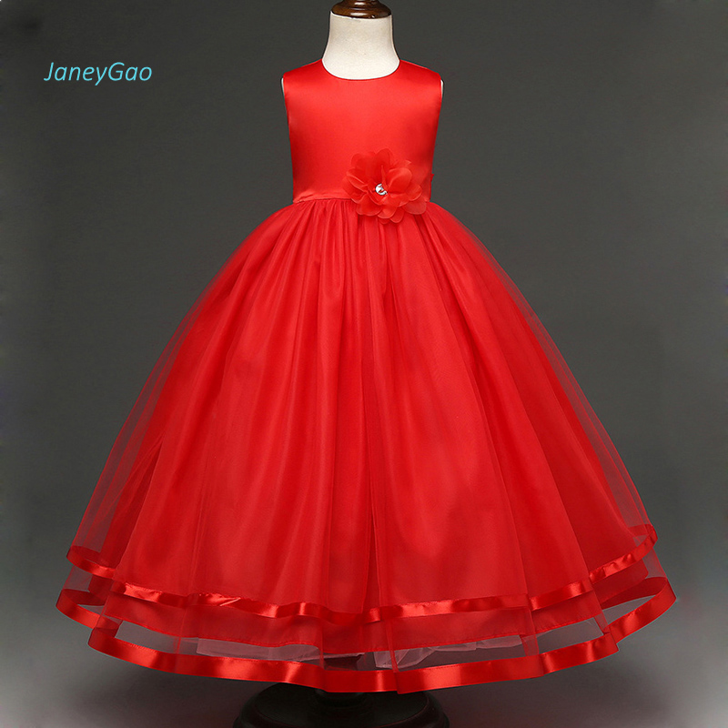 JaneyGao 2019 New Flower Girl Dresses For Wedding Party Prom With Appliques Elegant First Communion Dress Pageant Dress Hot Sale