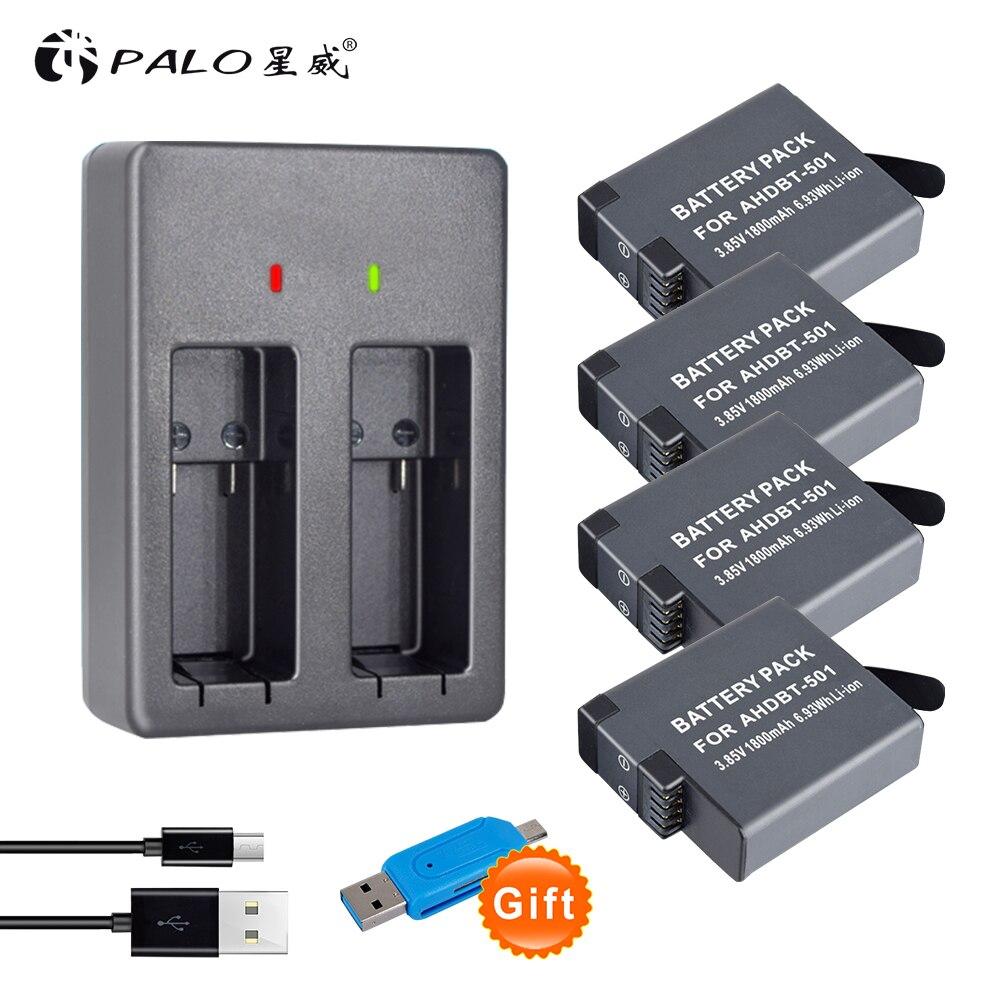 4 pièces 1800 mAh AHDBT-501 Li-ion appareil photo numérique batterie + chargeur avec affichage led pour GOPRO HERO 5 GOPRO HERO 6 caméra batterias